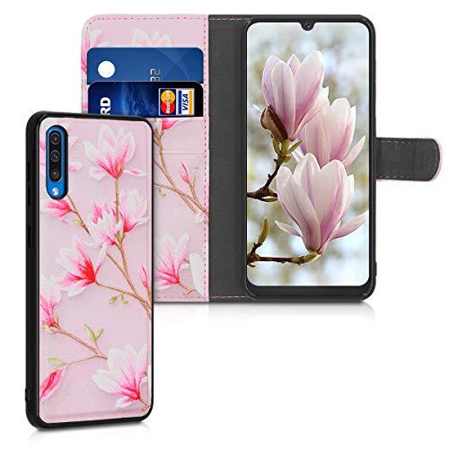 kwmobile Funda Compatible con Samsung Galaxy A50 - Carcasa de Cuero sintético y Cover extraíble Magnolias