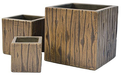Cubes Timber Natural Cement Fiber Planter Set, Color: Mocha