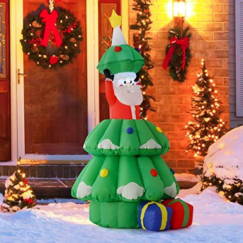 Tangkula 5 FT Inflatable Christmas Tree, Xmas Inflatable Tree, Air Blown Christmas Tree, Indoor Outdoor Yard Holiday Decorations, with Santa Claus Lighted Colorful Christmas Tree