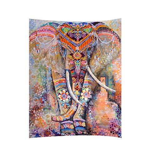Ruiting Tapestry Bohemia Tapestry Elefante Tapiz Bohemio de Pared Toalla de Playa Wall Hanging Colgar en la Pared Exclusive Handmade Decor Tapestry (Naranja)