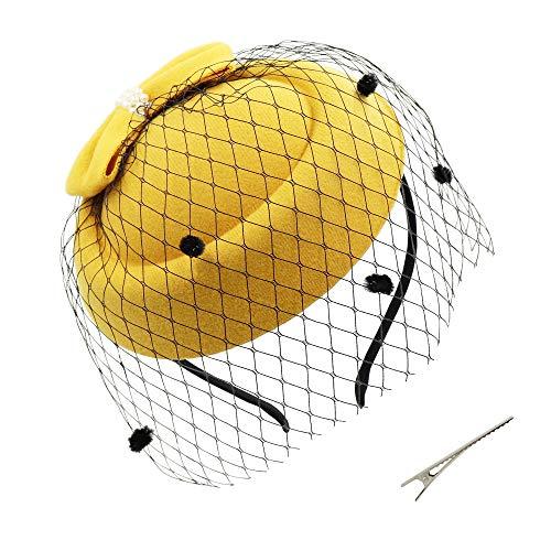 Umeepar Damen Bowknot Pillbox Fascinator Hut Hochzeit Tea Party Hüte mit Schleier Stirnband Clip (Gelb)