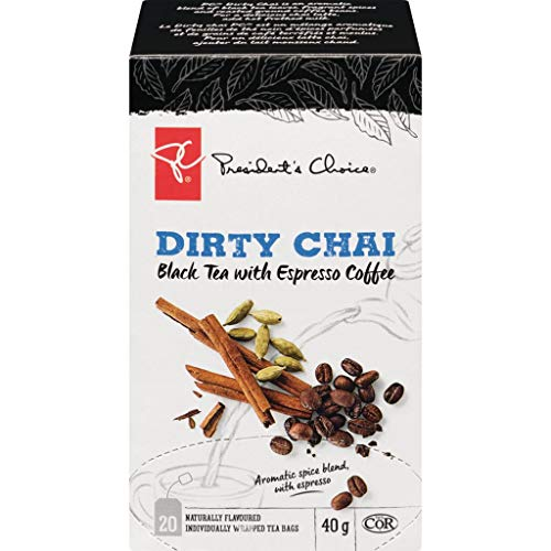PC Dirty Chai Black Tea + Espresso Coffee, 20ct, 40g, {Imported from Canada}