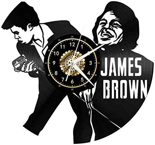 wttian Horloge Murale créative en Vinyle James Brown Horloge silencieuse Cadeau de décoration-No_LED