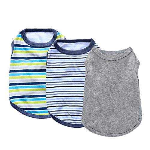 Yikeyo Male Dog Clothes for Small Dog Boy Chihuahua Summer Puppy Shirt Stripe Solid Color Pet Apparel for Cat Clothing, 3PC (3PC, Medium)