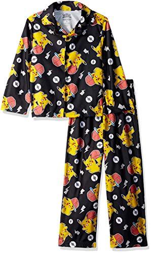 Pokemon Boys' Little 2-Piece Button Front Pajama Set, Lightning Cool, 4