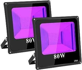 TOPLANET 80W-2-Pack UV Foco LED Proyector Ultravioleta Luz LED UV Impermeable UV Lámpara con 2m Línea Eléctrica para Bar Discoteca KTV Party Pub Club Disco Show Concert Festival
