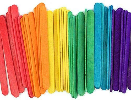 4.5 Colored Wooden Craft Sticks - Pack of 100ct