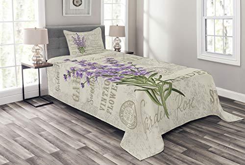 Lunarable Lavendel-Tagesdecke, Vintage-Postkarten-Komposition mit Grunge Bildschirm & Blumen, dekoratives gestepptes 2-teiliges Tagesdecken-Set mit Kissenbezug, Doppelbettgröße, Grün