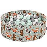 KiddyMoon 90X30cm/200 Balles ∅ 7Cm Piscine À Balles pour Bébé Rond Fabriqué en UE, Renard-Vert: Blanc/Gris/Menthe