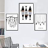 Juego de 3 piezas de estilo nórdico, 50x70 cm, sin marco, abstracto, minimalista, anzuelo de pescado, carteles nórdicos e impresiones para la sala de estar, imágenes de decoración del hogar nórdico