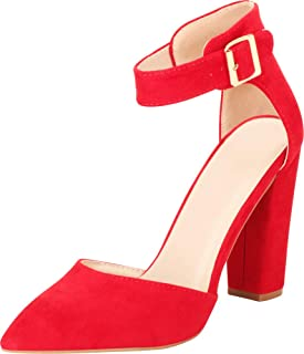 Cambridge Select Women's Pointed Toe Ankle Strap D'Orsay Chunky Block Heel Pump