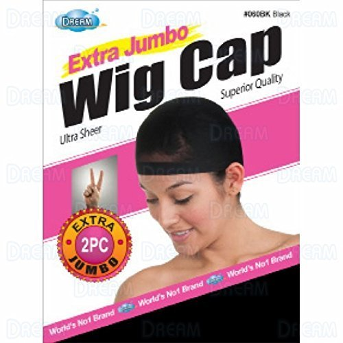 DREAM Deluxe Wig Cap Jumbo Black 12 pieces (Model: 060), Spandex cap, Wig cap, Mesh cap, Snood, Hair net, Fish net ... by Dream