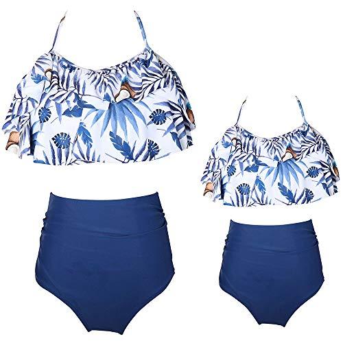 2Pcs Baby Girl Swimsuit High Waisted Bathing Suit Halter Neck Swimwear Women Bikini Sets for Family (Blue Floral, Girl 4-5 T)