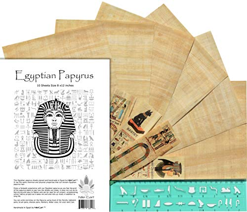 Nilecart papiro egiziano, fogli bianchi, 8x12in con Hieroglyphic alfabeto stencil Ruler & segnalibri 10 Sheets