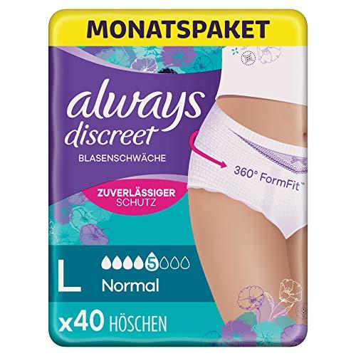 Always Discreet Inkontinenz Pants Gr. L, Normal (40 Höschen) Monatspaket, diskreter Schutz & hohe Saugstärke, geruchsneutralisierend, 4 x 10 Stück