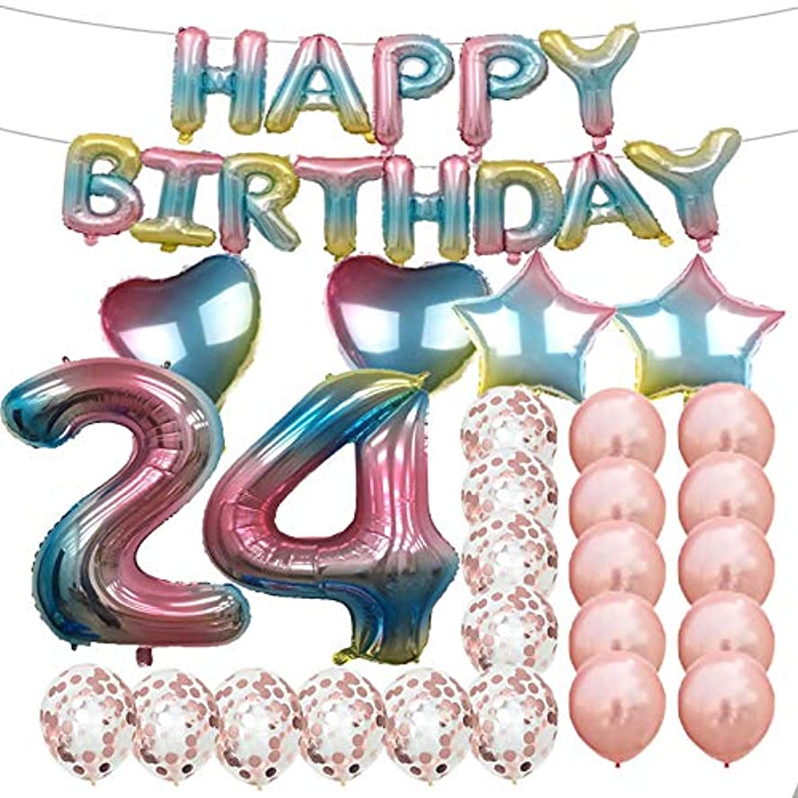 Sweet 24th Birthday Decorations Party Supplies,Rainbow Number 24 Balloons,24th Foil Mylar Balloons Rose Gold Latex Balloon Decoration,Great 24th Birthday Gifts for Girls,Women,Men,Photo Props
