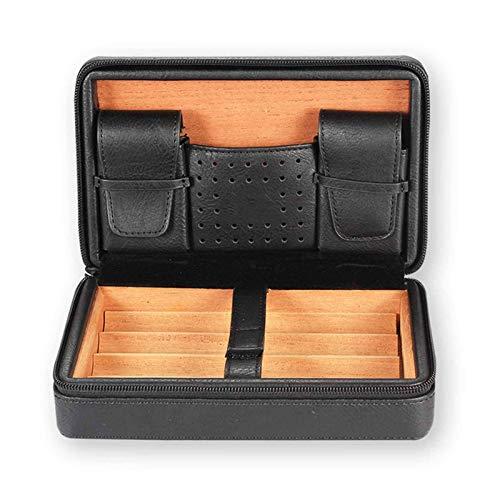 OH Haushaltsartikel Qualität Leder Zigarre Travel Case Humidor, Zigarrenbox Mit Abnehmbarem Zedertablett Für 4 Zigarre, Multifunktions-Retro-Lager-Zigarre-Humidor Geschenk/Black