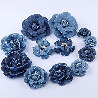 ICYSTOR 5pcs Denim Fabric Flower Artificial Flower Small Camellia Wedding Decoration Clothes Hats Dress DIY Scrapbooking H...