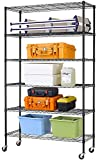 6 Tier Wire Shelving Unit Rack, NSF Heavy Duty Height Adjustable Storage Shelf Metal Shelving with Wheels/Feet Levelers for Garage Rack Kitchen Rack Office Rack Commercial Shelving - 18'x48'x82' Black