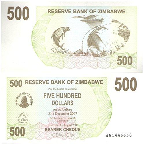 Stampbank 500 dólares de Billetes de colección / Banco de la Reserva de Zimbabwe 2006-2007 / UNC Condición