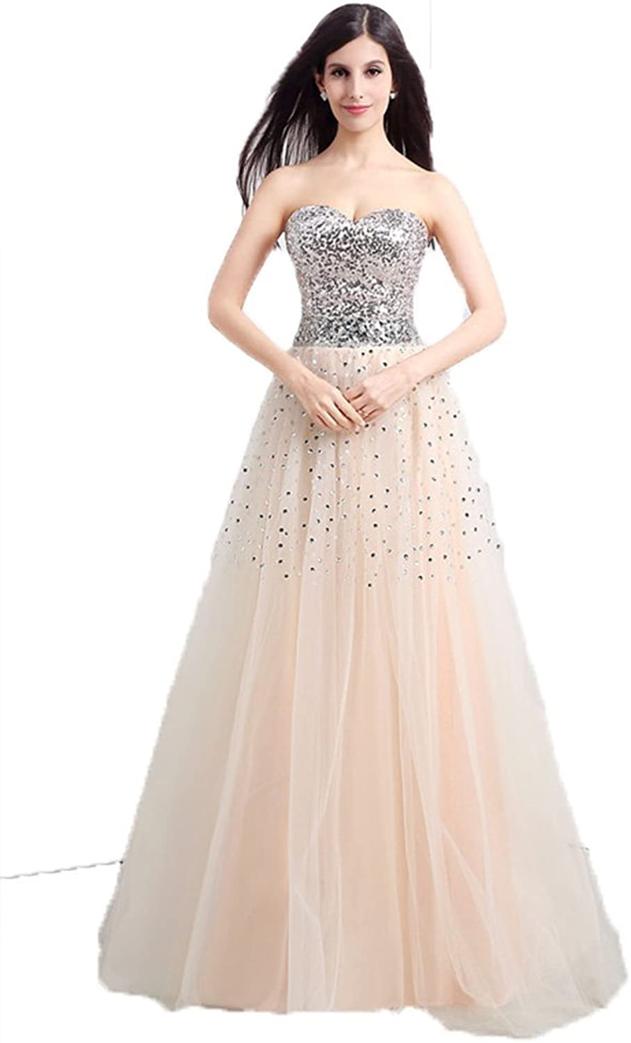 Anna's Bridal Women's Tulle Sequin Prom Dresses 2016 Evening Formal Gowns