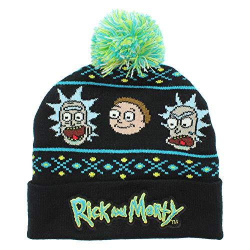 Bioworld Adult Swim Rick and Morty Magic Jacquard Pom Beanie Hat Black