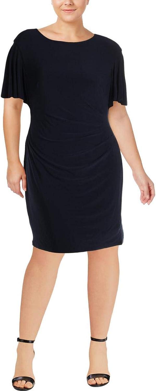 Lauren Ralph Lauren Womens Plus CapeOverlay Sheath Party Dress