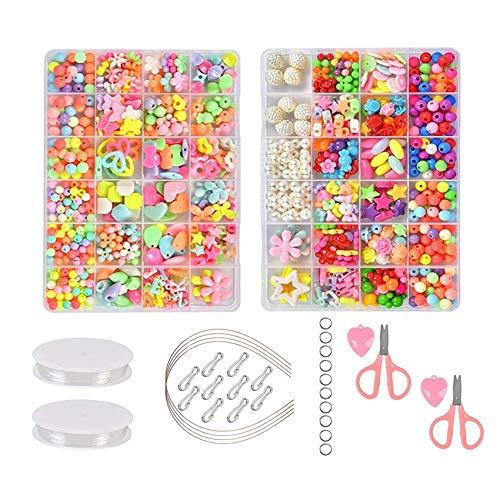 Bambini Perline Kit 981PCS, Perline per Braccialetti Bambini, Perline Fai-da-Te Perline e Creazione di Gioielli per Bambini Perline Colorati per Collane Gioielli Regalo Festa Fai da Te con Accessori