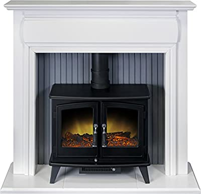 Adam Florence Stove Suite in Pure White with Woodhouse Electric Stove in Black, 48 Inch