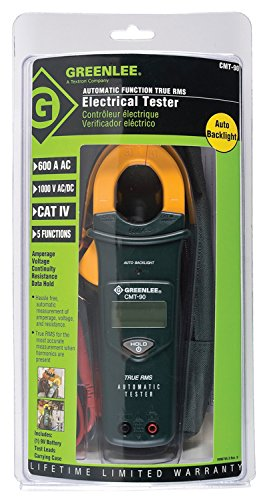 Greenlee Textron Inc CMT-90 - Digital Multimeter - Digital Display, Clamp-On Probe, Probe Leads, Power Source: Battery