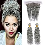 Zara Hair Deep Curly Grey Brazilian Hair 2 Bundles with Frontal Lace Closure Pure Color Gray Deep Wave Human Hair Weave Extensions with 13x4 Ear to Ear Frontal (12 with 14 16)