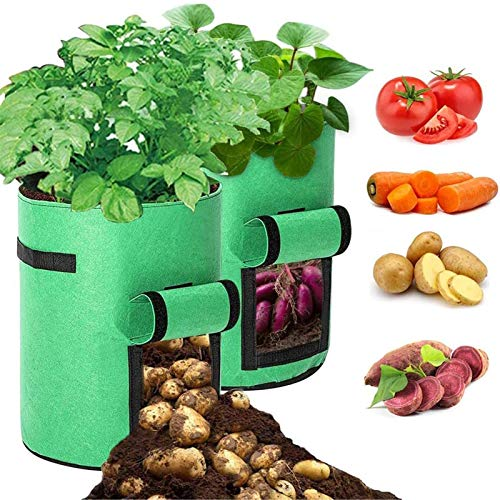 Planteringslåda Potatisodlingspåsar, Växter För Växtväxter Med 10 Gallon Robust Andningsväska för Grönsaker för Grönsaker/Frukt/Jordgubbar/Tomat/Morot