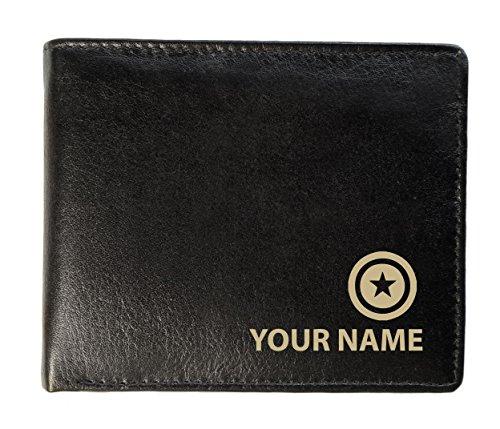 Personalisierte Herren-Geldbörse aus echtem Leder – American Hero (Superhelden) Design (Toscana-Stil)