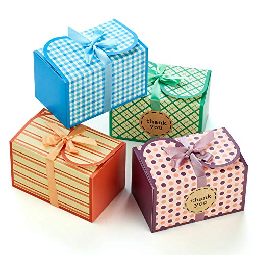 Hayley Cherie - Gift Treat Boxes with Ribbons and Thank You Stickers (20 Pack) - 6.5 x 4 x 4 inches - Thick 400gsm Card - For Cookies, Goodies, Candy, Parties, Christmas, Birthdays, Weddings (Printed)