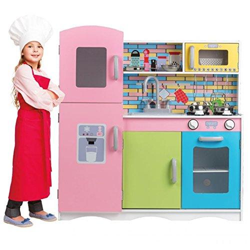 Eco Toys Cocina de juguete de madera para niños + equipamiento