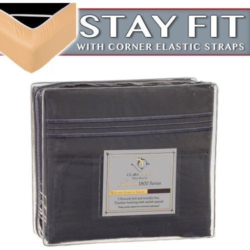 Clara Clark 1800 Series Bed Sheet Sets - Stay fit on Mattress with Elastic Straps at Corners - Full (Double), Charcoal Stone Gray