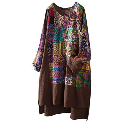 SALUCIA Damen Große Größen Rundhals Langarm Boho Afrikanische Druck Shirtkleid Dashiki Longbluse Langarmshirt Shirts Top