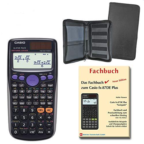 Casio FX-87DE Plus (SCHULpaket) + Erweiterte Garantie + Schutztasche + Fachbuch : calcumio Artikel Set