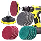 Swpeet 16Pcs 4Inch 3 Different Color Scrubbing Pads Drill Powered Brush Tile Scrubber Scouring Pads Cleaning Kit, Abrasive Buffing Pads Replacement with 1 Pcs Hook Attachment for House Cleaning