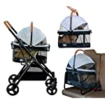 Pet Gear View 360 Pet Stroller Travel System 3-in-1 Carrier, Booster Seat and Stroller with Push Button Entry, Silver Pearl (PG8140NZSP) 9
