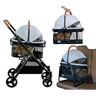Pet Gear View 360 Pet Stroller Travel System 3-in-1 Carrier, Booster Seat and Stroller with Push Button Entry, Silver Pearl (PG8140NZSP) 22