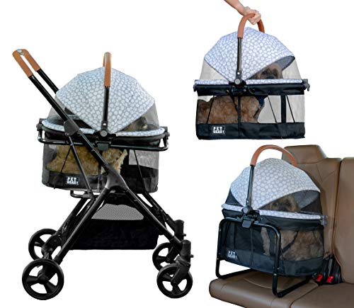 Pet Gear View 360 Pet Stroller Travel System 3-in-1 Carrier, Booster Seat and Stroller with Push Button Entry, Silver Pearl (PG8140NZSP)