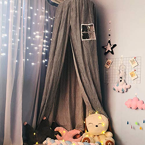QLIGHA Habitación Infantil Moderna Mosquitera Cúpula Cama con Dosel Negro con Ventana Ropa de Cama Decoración Tienda de Cortina de bebé