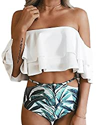 Off the shoulder crop bikini top with tropical print cutout high-waisted bottoms.