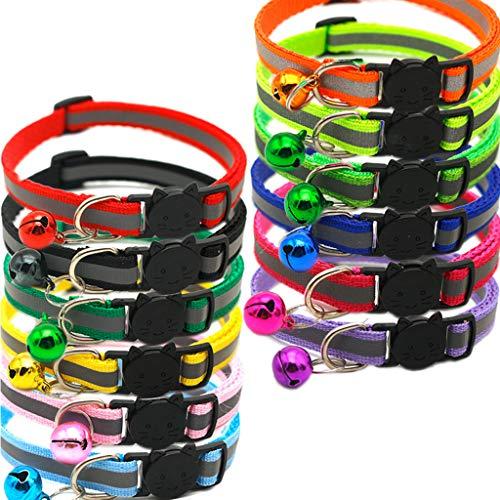 OSELLINE Arnés para gato, 12 unidades de collar reflectante con campana colorida para gatito o cachorro