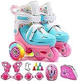 TOPNIU Patines de Rodillos para niños Patines Transpirables para niños y niñas Skate Set (Color : Light Pink, Size : Medium 28-32)