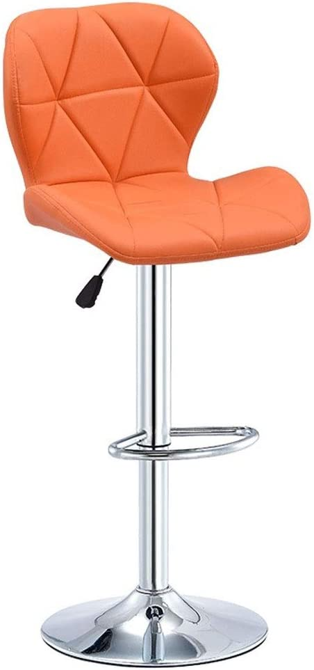 Counter Height Bar Stools with Backs and Swivel PU Leather Adjustable Bar Chairs for Kitchen Dining Chairs Barstool with Backrest 4 Colors, 60-80cm (Color : Orange, Size : 60-80cm)