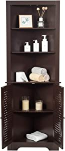 Tangkula Bathroom Corner Storage Cabinet, Free Standing Tall Collection Cabinet with 3 Open Shelves, Storage Organizer for Bathroom Bedroom Living Room (Espresso)