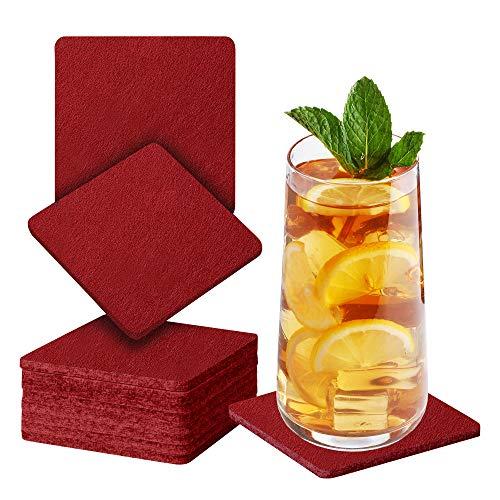 Sidorenko Sottobicchieri in feltro quadrati per bicchieri - Set di 10 - Sottobicchieri di vetro di design in rosso vino per bevande, tazze, bar, vetro - Sottobicchieri da tavolo