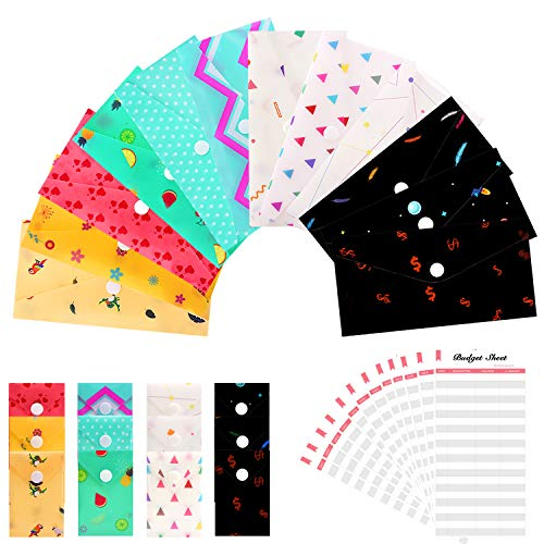 Cash Envelope System for Budgeting - 12 Waterproof Plastic Money Envelopes + 12 Reusable Coin Envelopes + 12 Budget Sheets, Gift Envelopes with Snap Buttons Budget Envelopes for Cash Currency